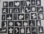 10 - 200 Christmas themed stencils for glitter tattoos / airbrush / face painting